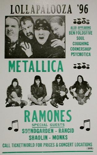 Metallica Amp Ramones Lollapalooza 1996